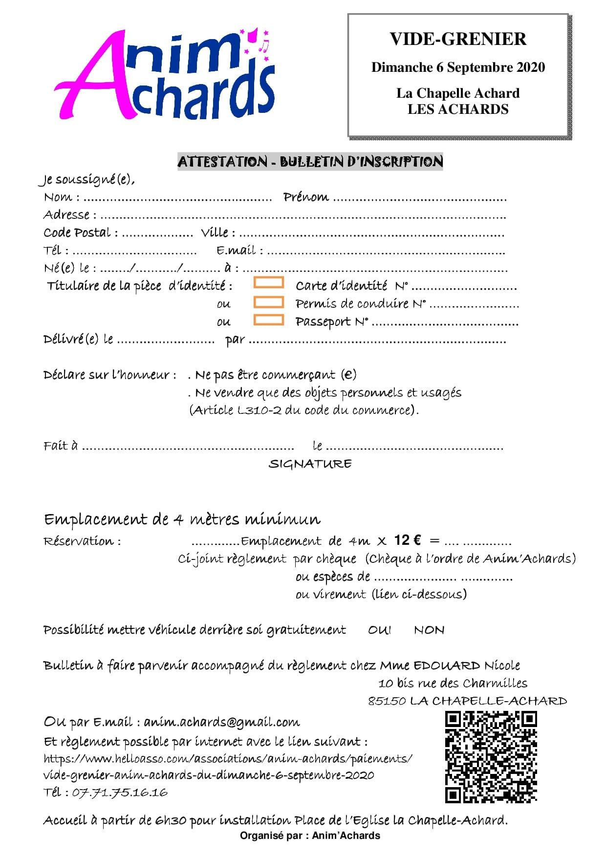 Bulletin inscription VIDE GRENIER 2020